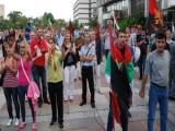 Picture: Протестиращ: Разбирате ли значението на думата СВОБОДА, мръсник Станишев?!