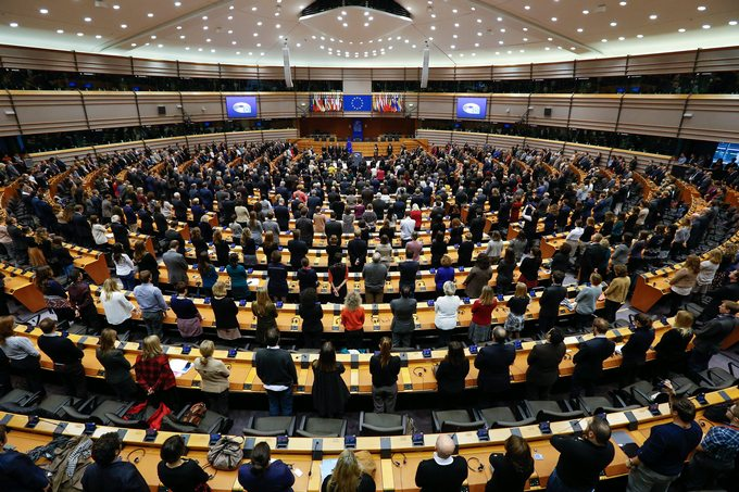 epa05029589 Members of the European Parliament observe a minute of silence for the 13 November Paris attacks victims at the European Parliament in Brussels, Belgium, 17 November 2015.  More than 130 people were killed and hundreds injured in the terror attacks which targeted the Bataclan concert hall, the Stade de France national sports stadium, and several restaurants and bars in the French capital on 13 November. Authorities believe that three coordinated teams of terrorists armed with rifles and explosive vests carried out the attacks, which the Islamic State (IS) extremist group has claimed responsibility for.  EPA/LAURENT DUBRULE