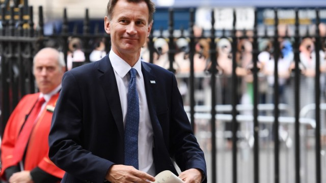 epa06865262 Secretary of State for Health and Social Care Jeremy Hunt arrives at Westminster Abbey for a service to mark seventy years of the NHS in London, Britain, 05 July 2018. The National Health Service is 70 on 05 July 2018.  EPA/ANDY RAIN