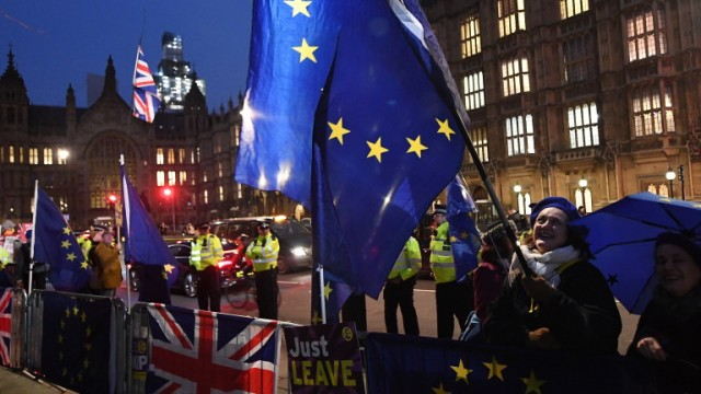 epa07330088 Pro Remain and pro leave campaigners outside Parliament in London, Britain, 29 January 2019. Parliamentarians are to vote on amendments to British Prime Minister May's Brexit deal. May is expected go back to Brussels to seek changes to the Irish backstop.  EPA/ANDY RAIN