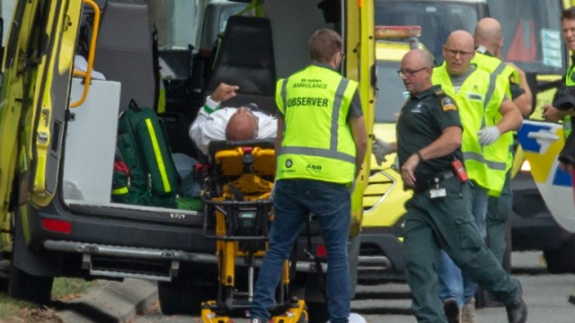 epa07438080 An injured person is loaded in an ambulance following a shooting resulting in multiple fatalies and injuries at the Masjid Al Noor on Deans Avenue in Christchurch, New Zealand, 15 March 2019. According to media reports on 15 March 2019, a gunman opened fire at around 1:40 pm local time after walking into the mosque, killing at least six people. Armed police officers were deployed to the scene, along with emergency service personnel.  Local authorities have advised residents to stay indoors as the situation is evolving and the gunman is reportedly still at large. There have been unconfirmed reports of a shooting at a second mosque in Christchurch.  EPA/Martin Hunter NEW ZEALAND OUT