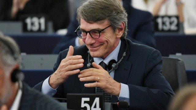 epa07691296 David-Maria Sassoli from the Group of the Progressive Alliance of Socialists and Democrats in the European Parliament reacts after the announcement of the results of the first ballot on the Parliament's President at the European Parliament, in Strasbourg, France, 03 July 2019. A vote for the new EU Parliament's presidency had been postponed to 03 July 2019 following the parliament's inaugural session on 02 July.  EPA/PATRICK SEEGER